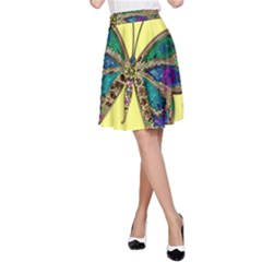 Butterfly Mosaic Yellow Colorful A Line Skirt