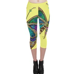 Butterfly Mosaic Yellow Colorful Capri Leggings