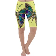 Butterfly Mosaic Yellow Colorful Cropped Leggings