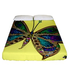 Butterfly Mosaic Yellow Colorful Fitted Sheet (california King Size)