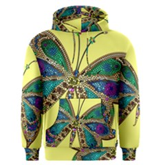 Butterfly Mosaic Yellow Colorful Men s Pullover Hoodie