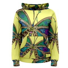 Butterfly Mosaic Yellow Colorful Women s Pullover Hoodie