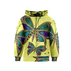 Butterfly Mosaic Yellow Colorful Kids  Zipper Hoodie