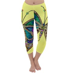 Butterfly Mosaic Yellow Colorful Capri Winter Leggings