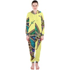 Butterfly Mosaic Yellow Colorful Hooded Jumpsuit (ladies)