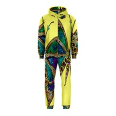 Butterfly Mosaic Yellow Colorful Hooded Jumpsuit (kids)