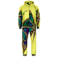 Butterfly Mosaic Yellow Colorful Hooded Jumpsuit (men)