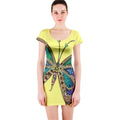Butterfly Mosaic Yellow Colorful Short Sleeve Bodycon Dress