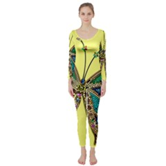 Butterfly Mosaic Yellow Colorful Long Sleeve Catsuit