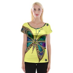 Butterfly Mosaic Yellow Colorful Women s Cap Sleeve Top