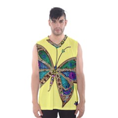 Butterfly Mosaic Yellow Colorful Men s Basketball Tank Top