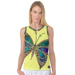 Butterfly Mosaic Yellow Colorful Women s Basketball Tank Top