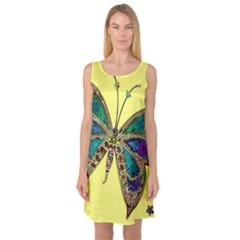 Butterfly Mosaic Yellow Colorful Sleeveless Satin Nightdress
