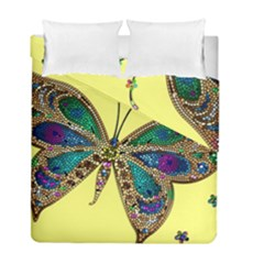 Butterfly Mosaic Yellow Colorful Duvet Cover Double Side (full/ Double Size)