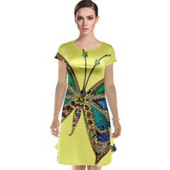 Butterfly Mosaic Yellow Colorful Cap Sleeve Nightdress