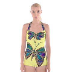 Butterfly Mosaic Yellow Colorful Boyleg Halter Swimsuit