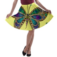 Butterfly Mosaic Yellow Colorful A Line Skater Skirt