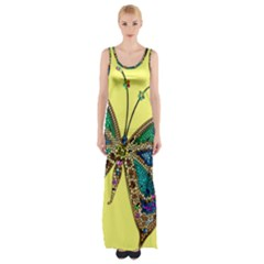 Butterfly Mosaic Yellow Colorful Maxi Thigh Split Dress