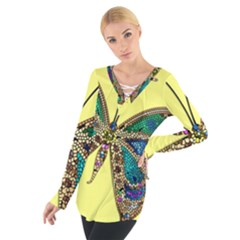 Butterfly Mosaic Yellow Colorful Women s Tie Up Tee