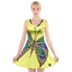 Butterfly Mosaic Yellow Colorful V Neck Sleeveless Skater Dress