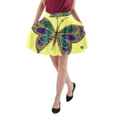 Butterfly Mosaic Yellow Colorful A Line Pocket Skirt