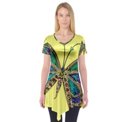 Butterfly Mosaic Yellow Colorful Short Sleeve Tunic