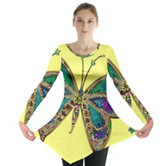 Butterfly Mosaic Yellow Colorful Long Sleeve Tunic