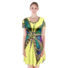 Butterfly Mosaic Yellow Colorful Short Sleeve V Neck Flare Dress