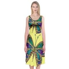 Butterfly Mosaic Yellow Colorful Midi Sleeveless Dress