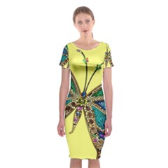 Butterfly Mosaic Yellow Colorful Classic Short Sleeve Midi Dress