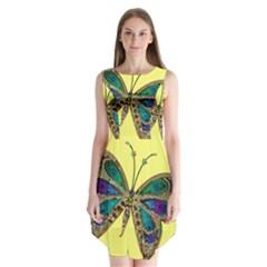 Butterfly Mosaic Yellow Colorful Sleeveless Chiffon Dress