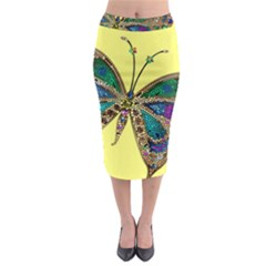 Butterfly Mosaic Yellow Colorful Midi Pencil Skirt