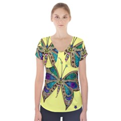 Butterfly Mosaic Yellow Colorful Short Sleeve Front Detail Top
