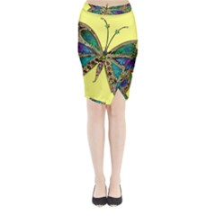 Butterfly Mosaic Yellow Colorful Midi Wrap Pencil Skirt