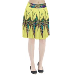 Butterfly Mosaic Yellow Colorful Pleated Skirt