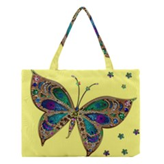 Butterfly Mosaic Yellow Colorful Medium Tote Bag