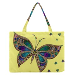 Butterfly Mosaic Yellow Colorful Medium Zipper Tote Bag