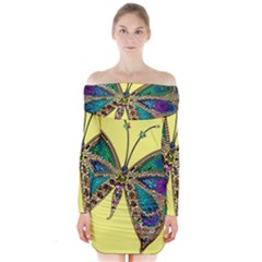 Butterfly Mosaic Yellow Colorful Long Sleeve Off Shoulder Dress