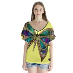 Butterfly Mosaic Yellow Colorful Flutter Sleeve Top