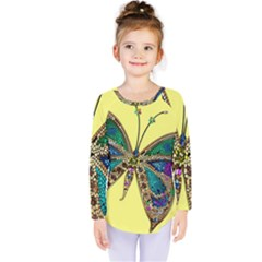 Butterfly Mosaic Yellow Colorful Kids  Long Sleeve Tee