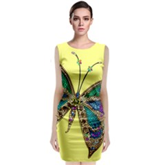 Butterfly Mosaic Yellow Colorful Sleeveless Velvet Midi Dress