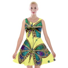 Butterfly Mosaic Yellow Colorful Velvet Skater Dress