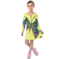 Butterfly Mosaic Yellow Colorful Kids  Long Sleeve Velvet Dress