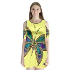 Butterfly Mosaic Yellow Colorful Shoulder Cutout Velvet  One Piece