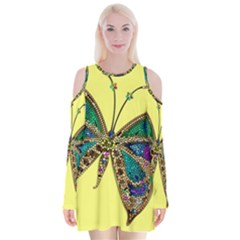 Butterfly Mosaic Yellow Colorful Velvet Long Sleeve Shoulder Cutout Dress