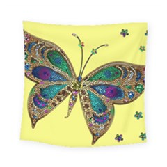 Butterfly Mosaic Yellow Colorful Square Tapestry (small)