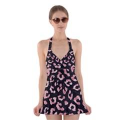 Skin5 Black Marble & Red & White Marble (r) Halter Swimsuit Dress
