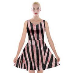 Skin4 Black Marble & Red & White Marble (r) Velvet Skater Dress