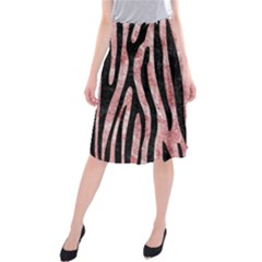 Skin4 Black Marble & Red & White Marble Midi Beach Skirt