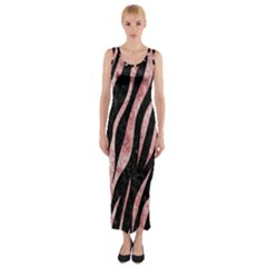 Skin3 Black Marble & Red & White Marble Fitted Maxi Dress